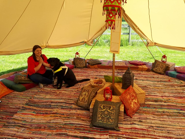 Looks' Events manager Elin and her guide dog Jazzy roadtest a LOOKFest big bell tent