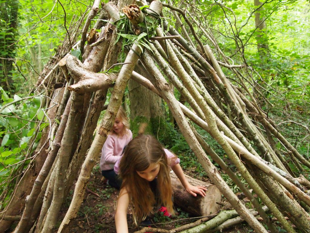 Two girls playing in their impressive wooden den.