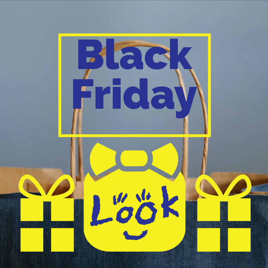 picture of shopping bag over played with the words black friday and look logo over an icon of a gift