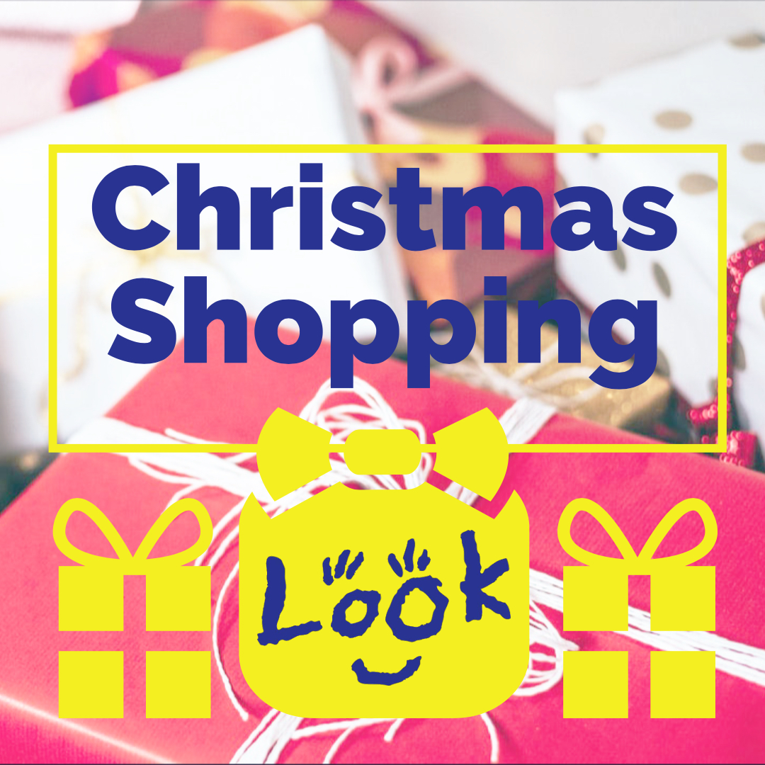 picture of christmas gifts overplayed with look logo and the words 'christmas shopping'