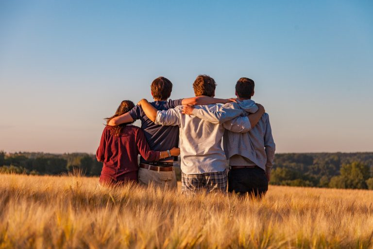 Image shows four people stood with their arms around each others shoulders, backs to the camera, in a field of corn under a summer blue sky.
