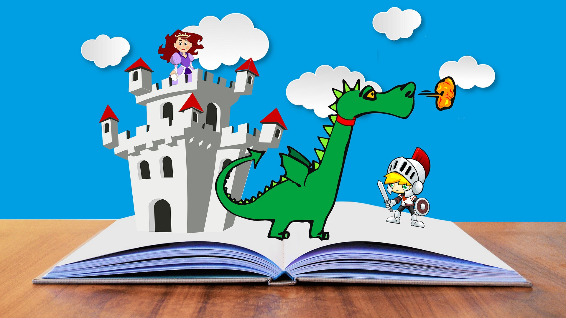Cartoon type illustration showing a catsle, dinosaur and knight popping up out of the pages of a book.