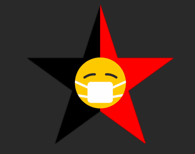 Black background, dual-coloured 5 point star in red and black, with a yellow emoji face wearing a face mask.