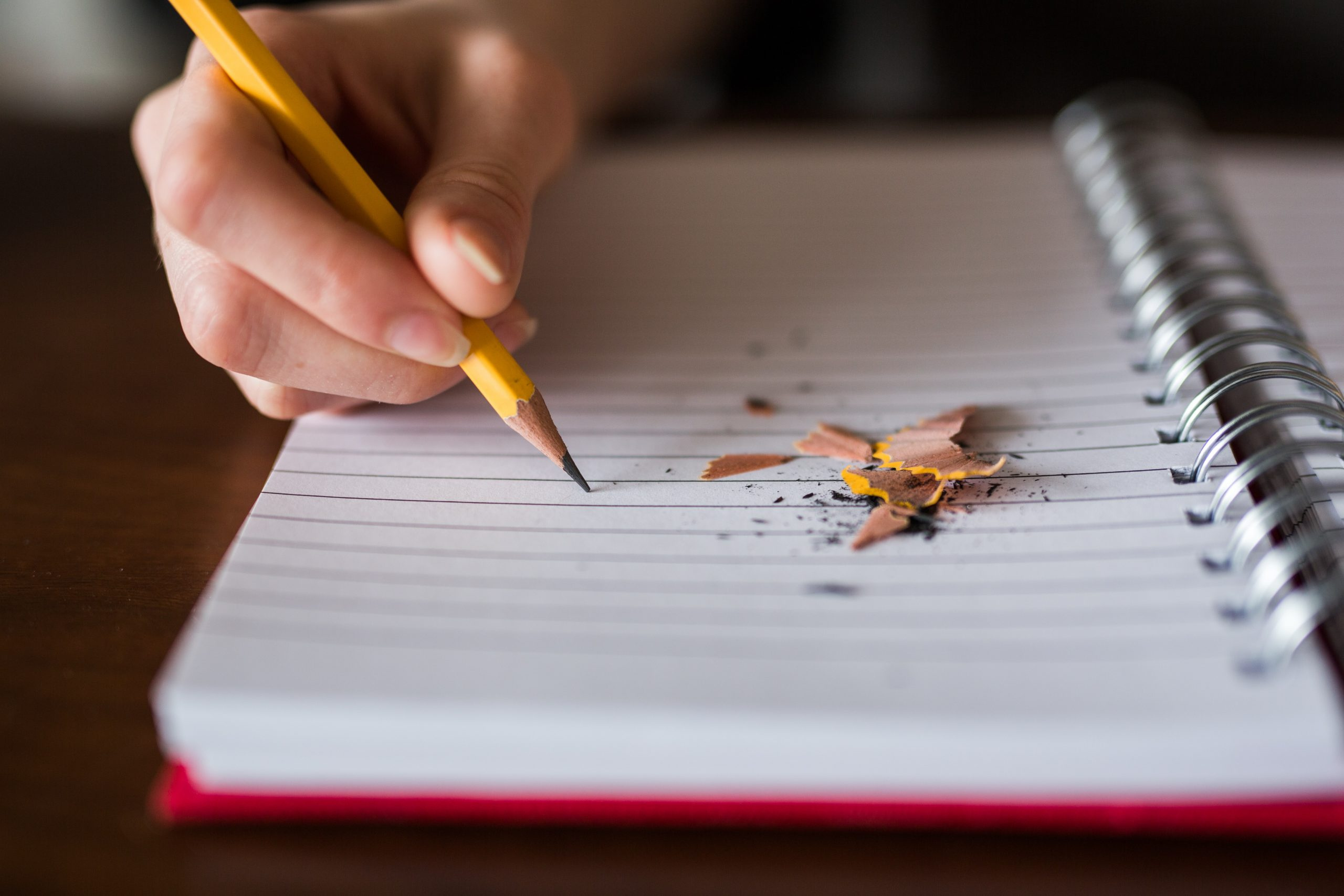 The image shows a lined notebook and a hand holding a pencil. Pencil sharpenings are on the page.