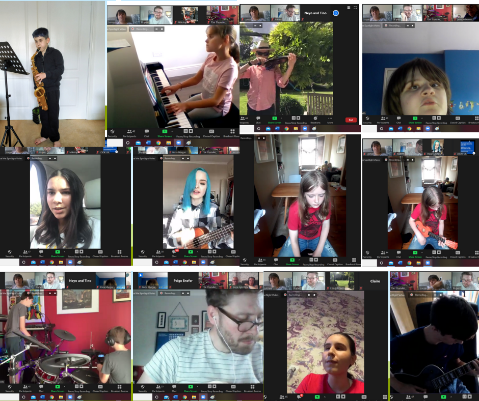 The image shows a screenshot of 12 Zoom screens, featuring a variety of the Look Open Mic performers.