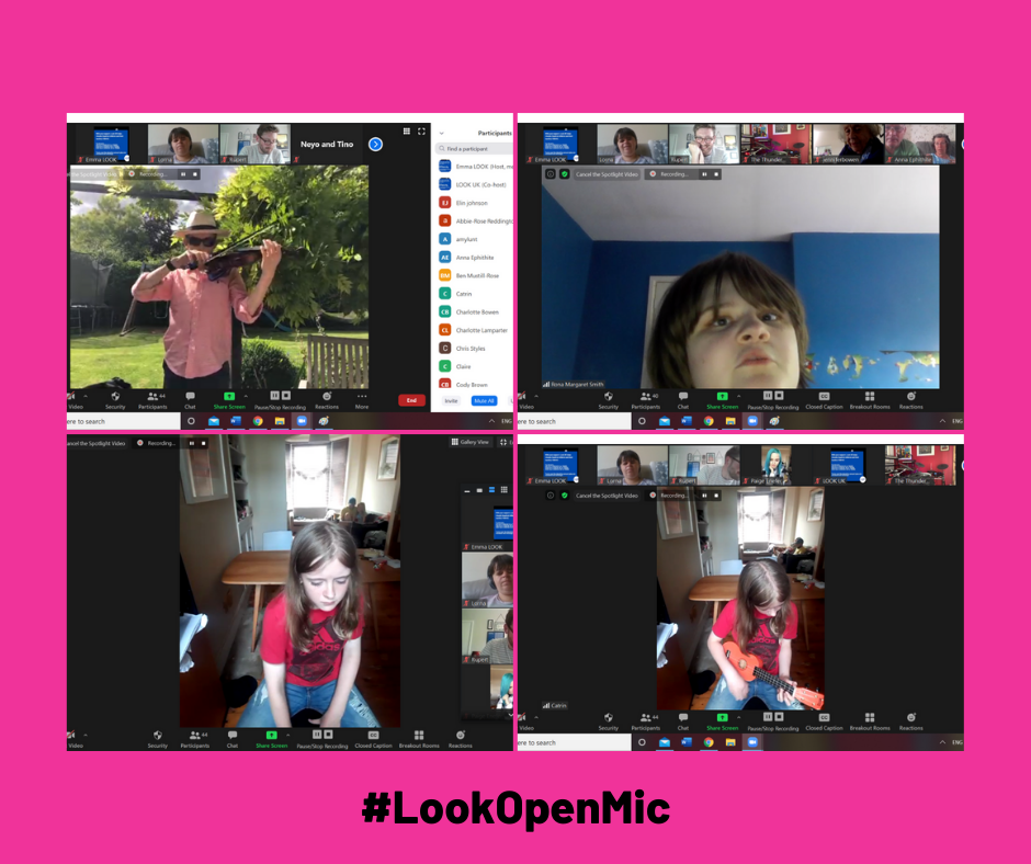 A grid of 4 photos on a bright pink background. Photo 1 shows screenshot of Theo playing violin in the garden; photo 2 shows Rona singing; photos 3 and 4 show Catrin playing the Ukulele.