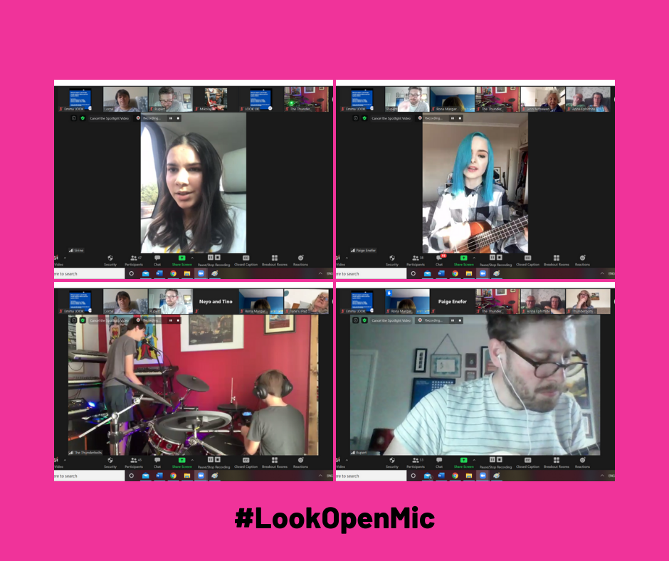 A grid of 4 photos on a bright pink background. Photo 1 shows screenshot of Sirine singing; photo 2 shows Paige singing and playing the guitar, photo 3 shows brothers Ethan and Jasper from the Thunderbolts, playing drums, keyboard and singing and the 4th photo is a screenshot of Look mentor, Rupert, with guitar just visible.