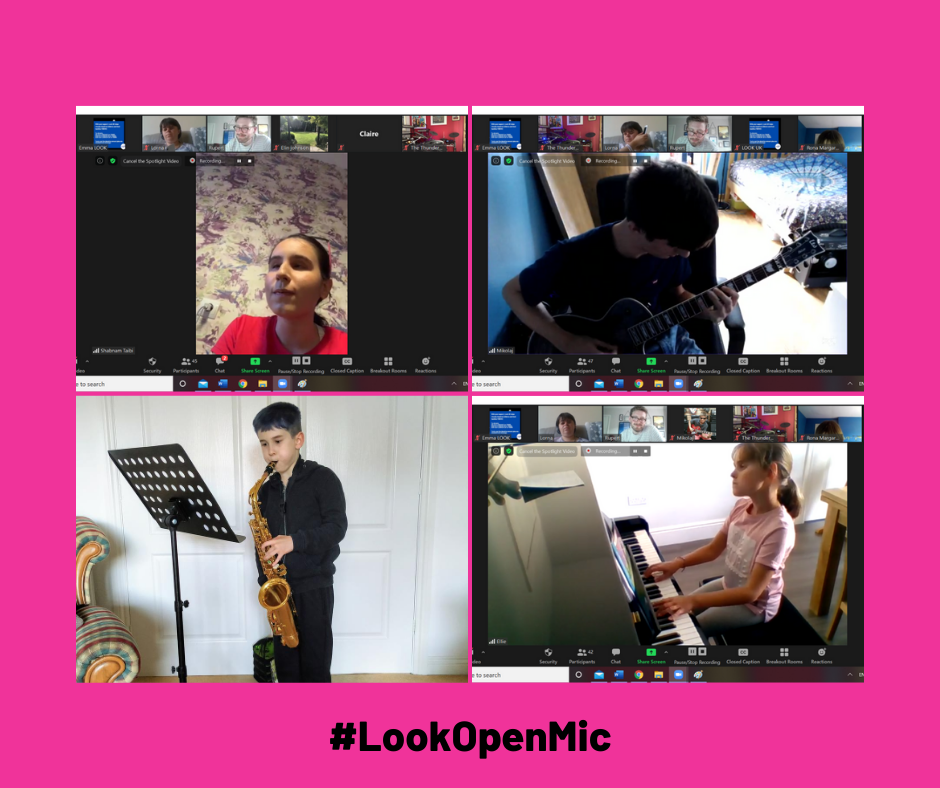 A grid of 4 photos on a bright pink background. Photo 1 shows screenshot of Gelareh performing, photo 2 shows Mikolaj playing guitar, photo 3 shows Jack playing saxophone and photo 4 shows Ellie playing keyboard.
