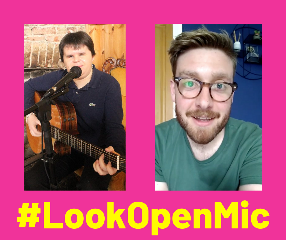 Image shows two photos mounted on a pink background. Photo one shows Look mentor Lorna, playing a guitar and singing into a microphone, and Photo 2 shows Look Mentor Rupert, smiling at the camera.