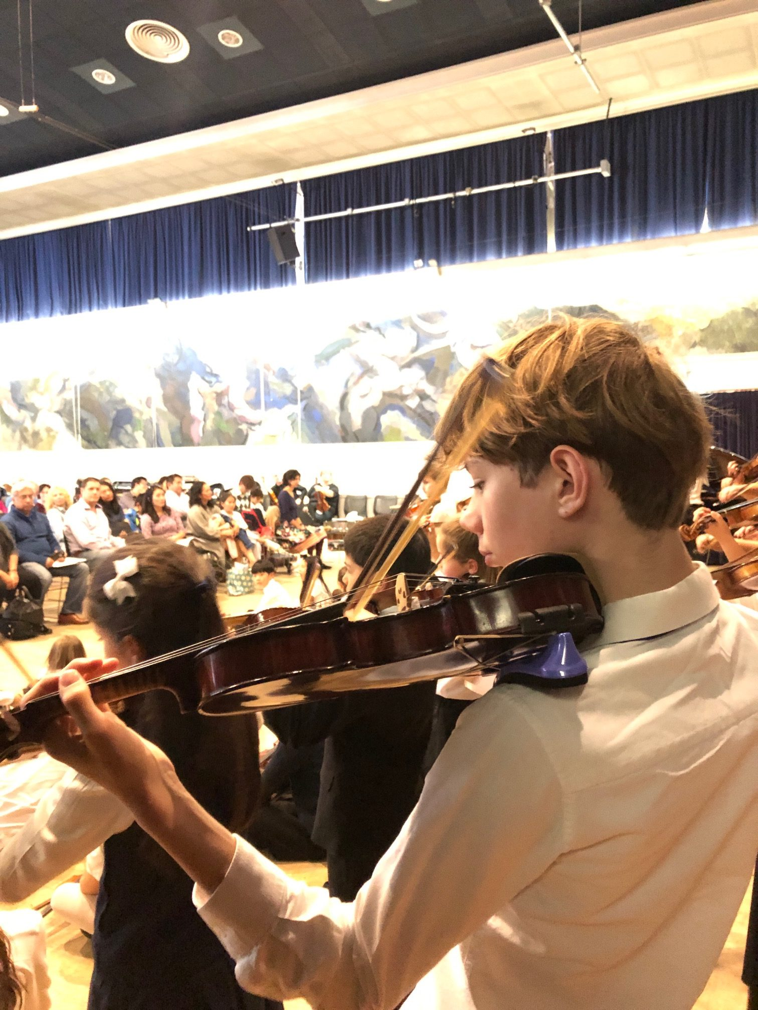 Photo shows young violinist Theo. It is a head, shoulders and violin action shot showing Theo from one side and just behind with lots of other violinists (backs only) around him and an audience in front, at a Suzuki graduation concert.