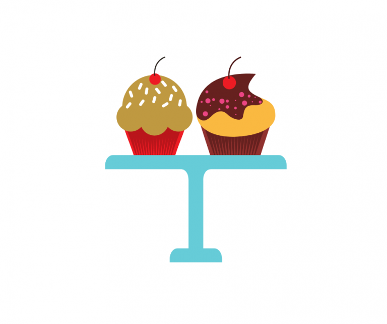 Image shows an illustration of two colourful cupcakes with cherries on top, sat on a blue cake stand.