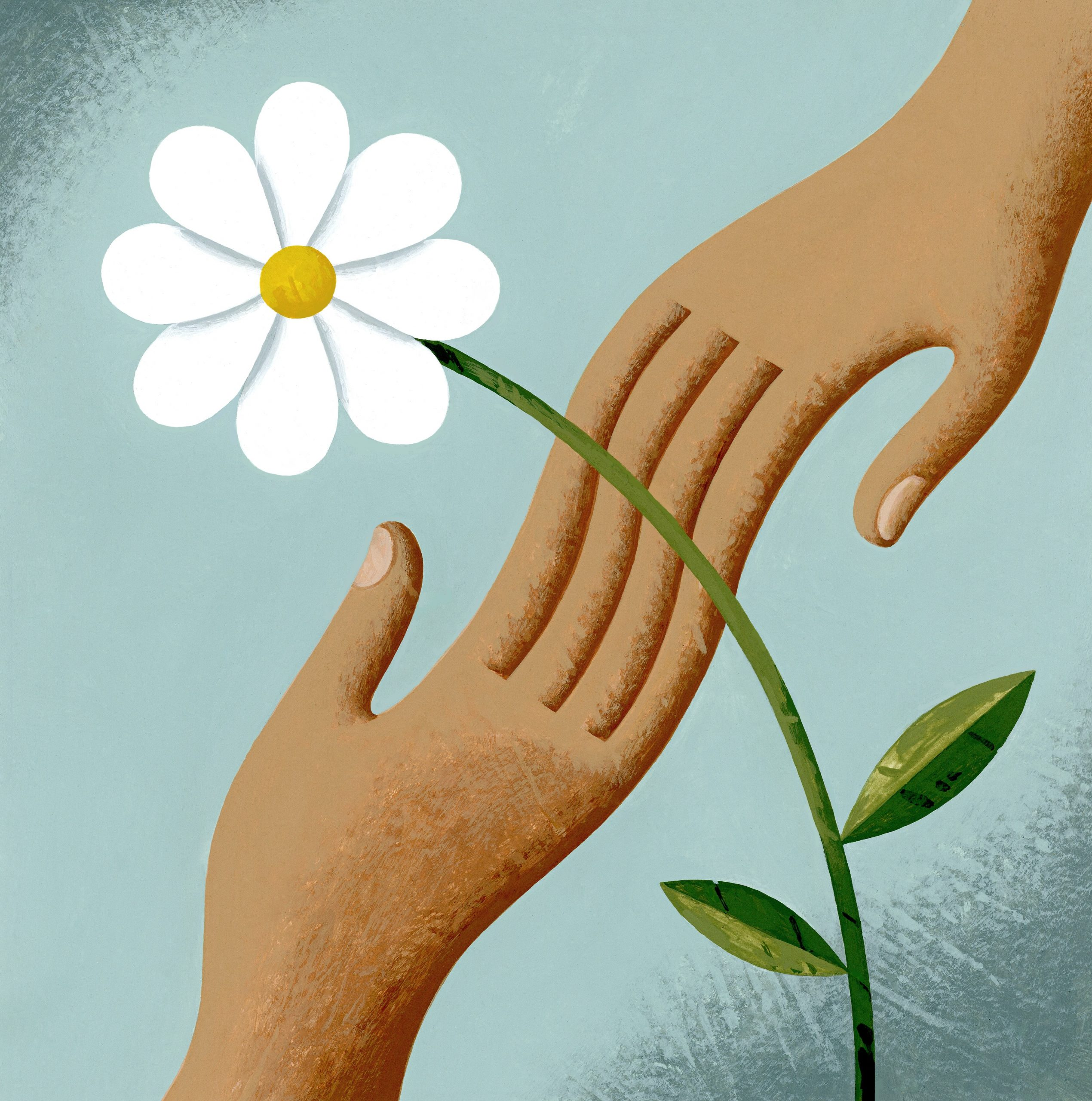 The image show and illustration of two hands joined together at the fingertips forming an abstract image. A single white flower runs through the point where the two hands meet. Pale blue background.