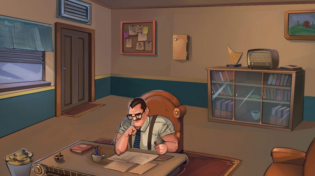 Image is a screenshot of a frame of the game Frequency Missing, showing a man in glasses sat at a desk, wearing a shirt, tie and braces. He is reading a piece of paper on his desk. Brown walls, a brown door, a glass window and glass cabinet with an old-fashioned radio on are all in the background.