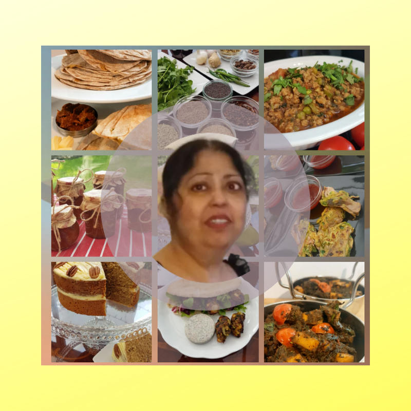 The image shows a grid of small square photos. Each photo os of a dish that KimJaye has cooked, from koftas in pitta, to jars of chutney. 8 images are in shot. A small photo of Kim Jaye's face is placed in the centre within a grey circle. All set on a light yellow background.