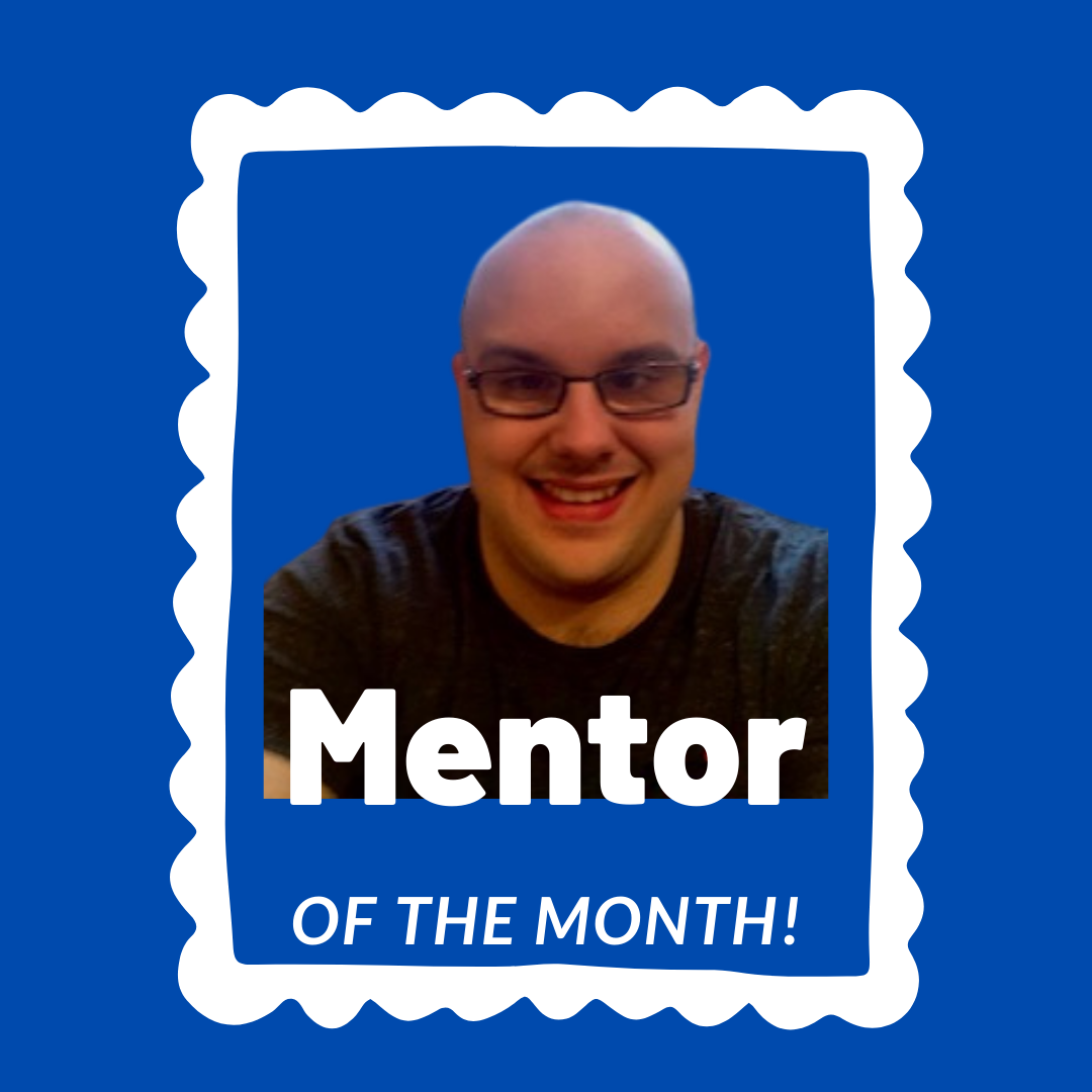 Image shows a photo of Craig smiling, wearing glasses and a black t-shirt, on a blue background with white frame around it and the words 'Mentor of the Month' in white text.