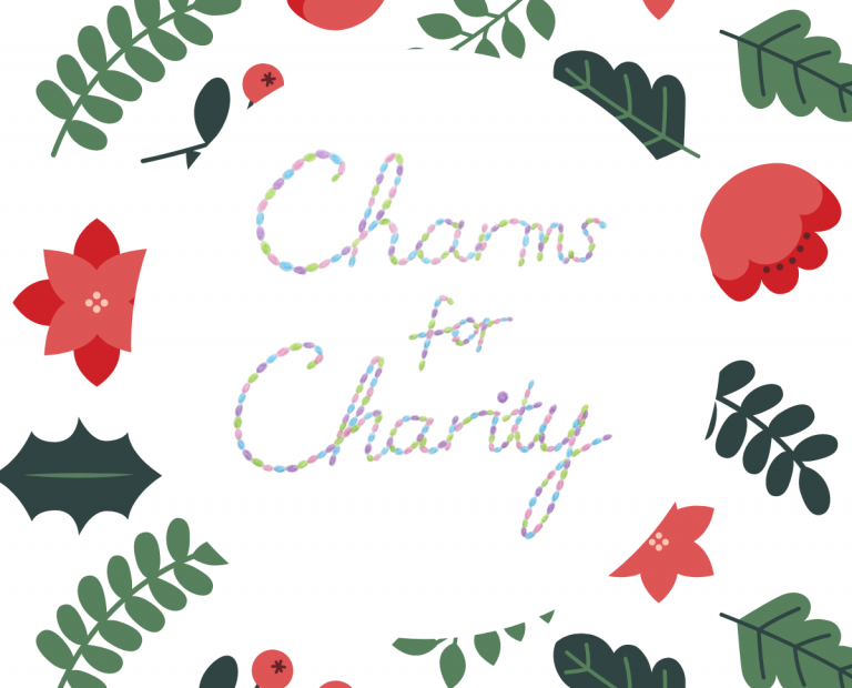 Image shows the words 'Charms for Charity', Each letter is made up of a string of hand-drawn colourful beads in green, pink, blue and purple. Set on a white background with green leaves and red flowers around the outside.