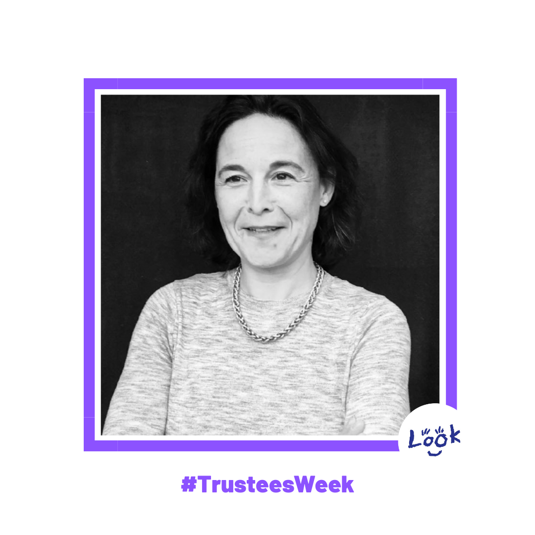 Black and white photograph of Jennifer Burgos, set within a purple frame on a white background with #TrusteesWeek in purple text at the bottom and teh LOOK logo in the right hand corner.