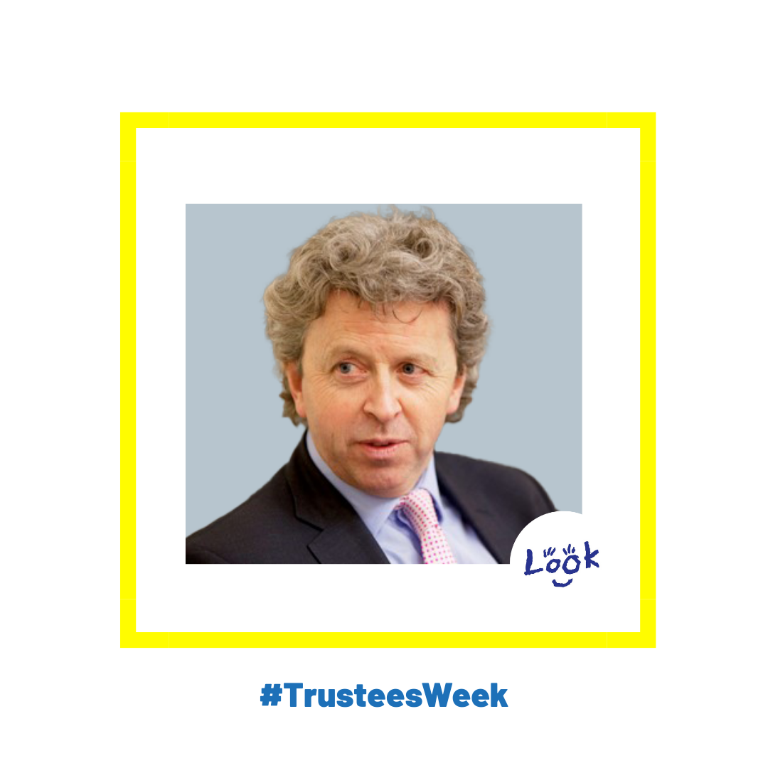 Photo of Nick Bowen, wearing a dark suit, pale blue shirt and pink tie. The photo is set on a white background within a yellow square frame, featuring the LOOK logo. In blue text the words '#Trustees Week' feature at the bottom of the image.