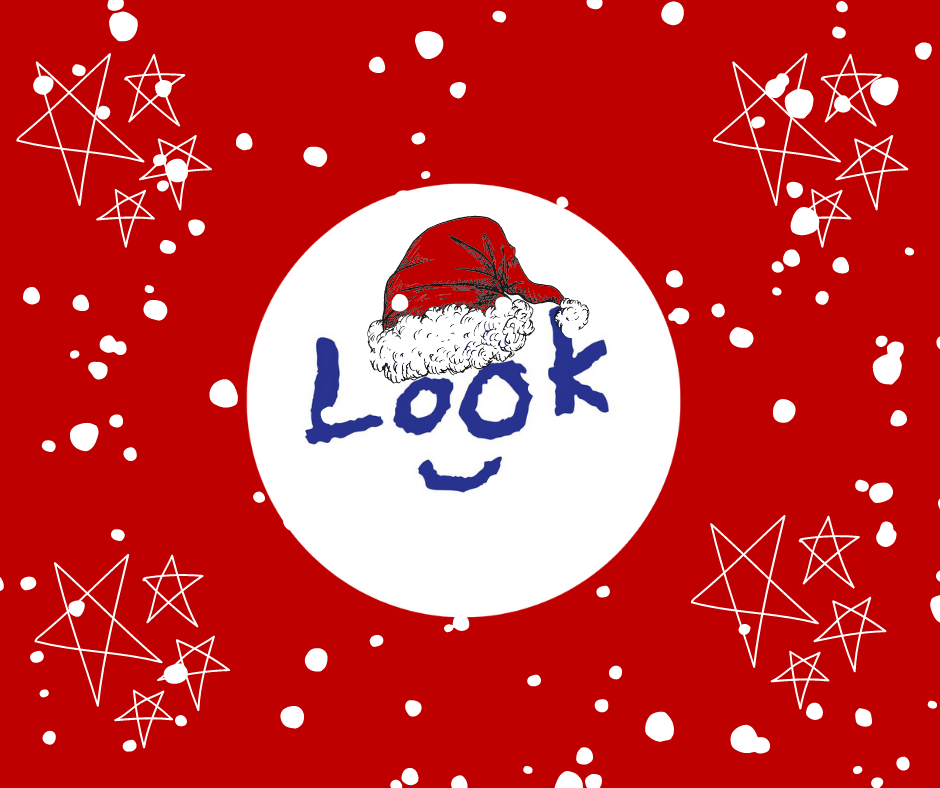 LOOK logo wearing a Sant hat surrounded by snowflakes and stars.