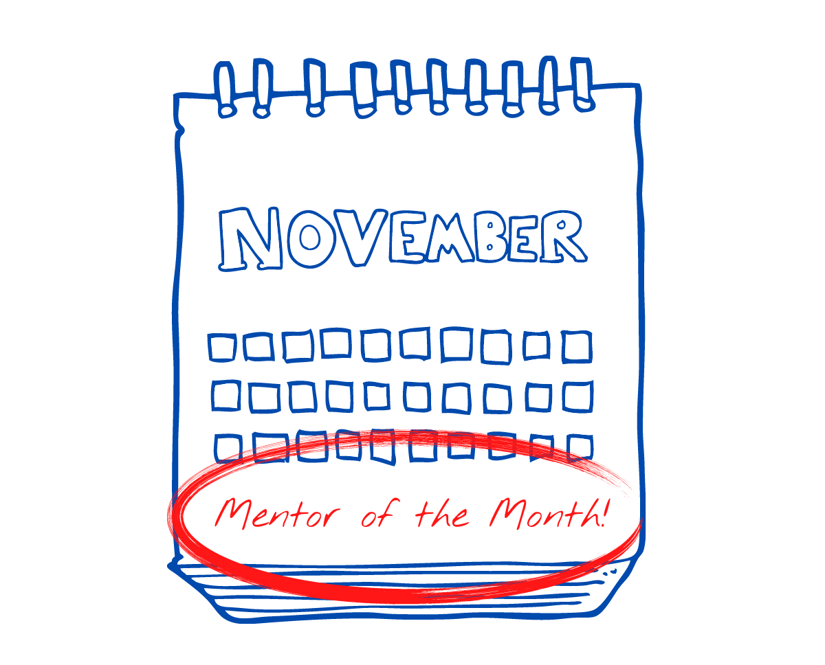 Image shows an illustration of a calendar November page, with 'Mentor of teh Month!' written in red and circled.