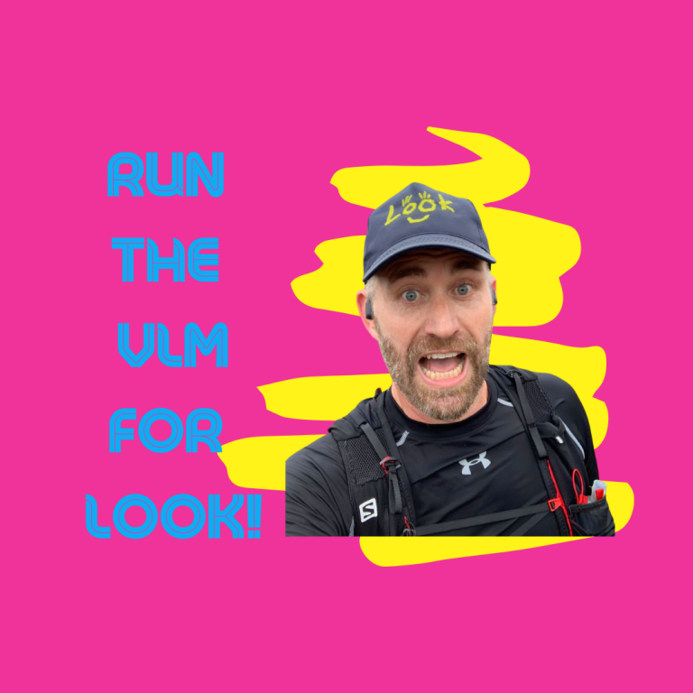 Blue text on bright pink background reads: RUN THE VLM FOR LOOK! Image of Mark, our VLM runner, wearing LOOK cap.