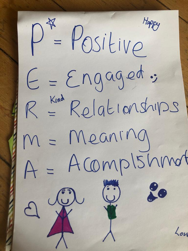 Close-up photo of Charlotte's daughter's PERMA poster, focusing on the letters P, E, R, M, A and the two stick figures.