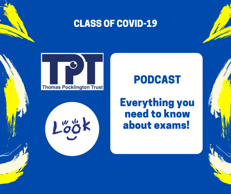 Image shows TPT and LOOK logos. Blue text on white background reads: PODCAST Everything you need to know about exams!