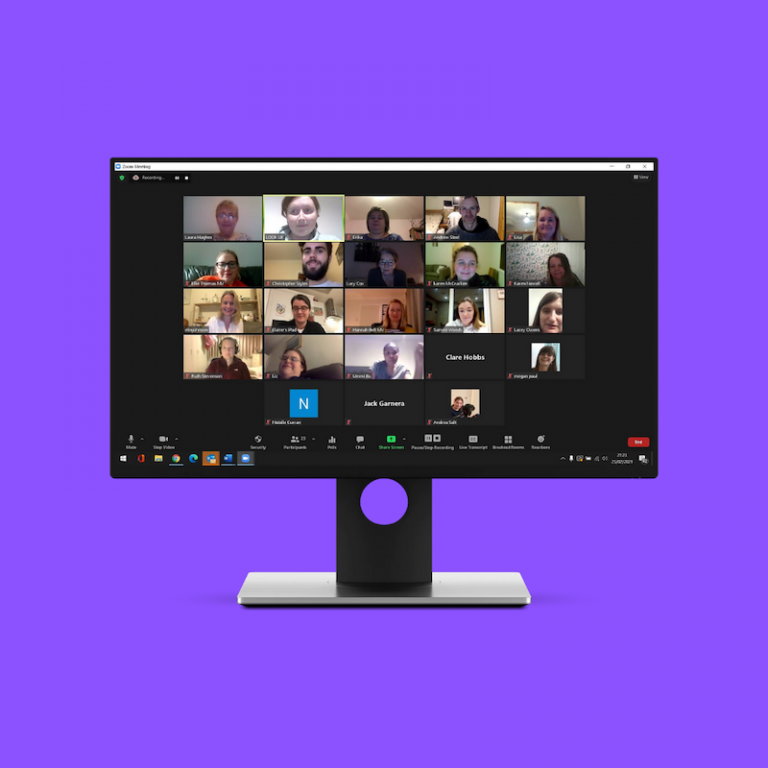 Image shows a screenshot of a Zoom grid on a monitor, with a thumbnail of each participant. Set on a square purple background.