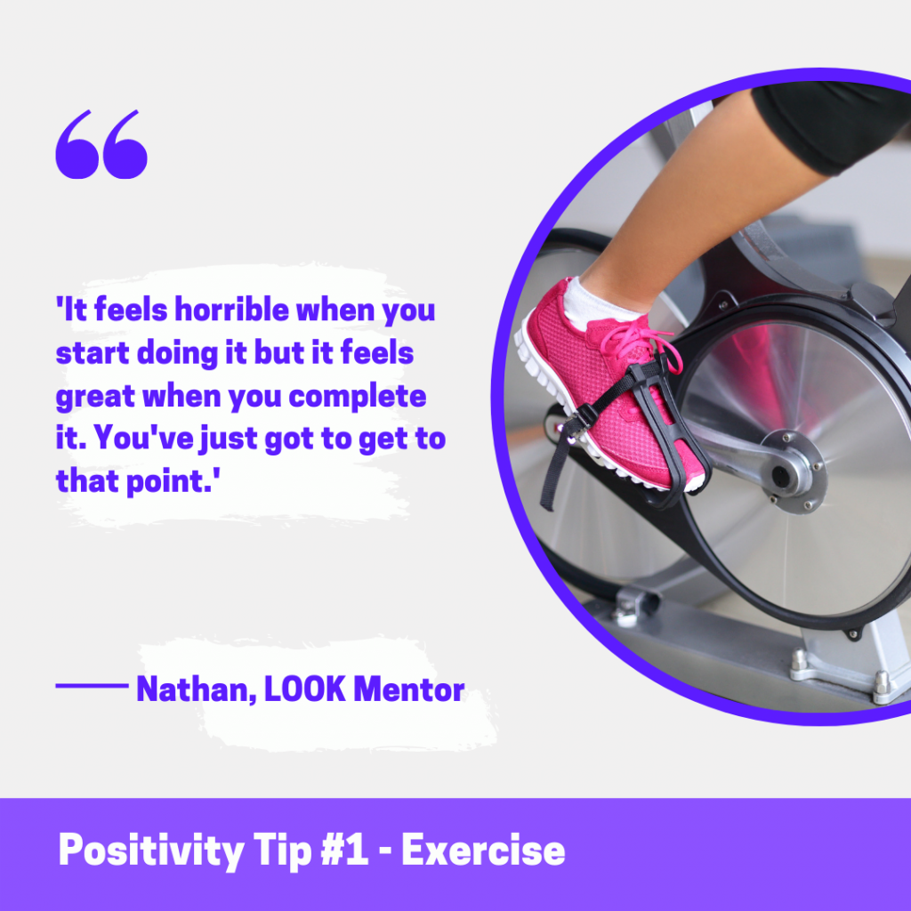 Image shows a photo of the lower legs of someone on an exercise bike. Text reads 'It feels horrible when you start doing it but it feels great when you complete it. You've just got to get to that point.'