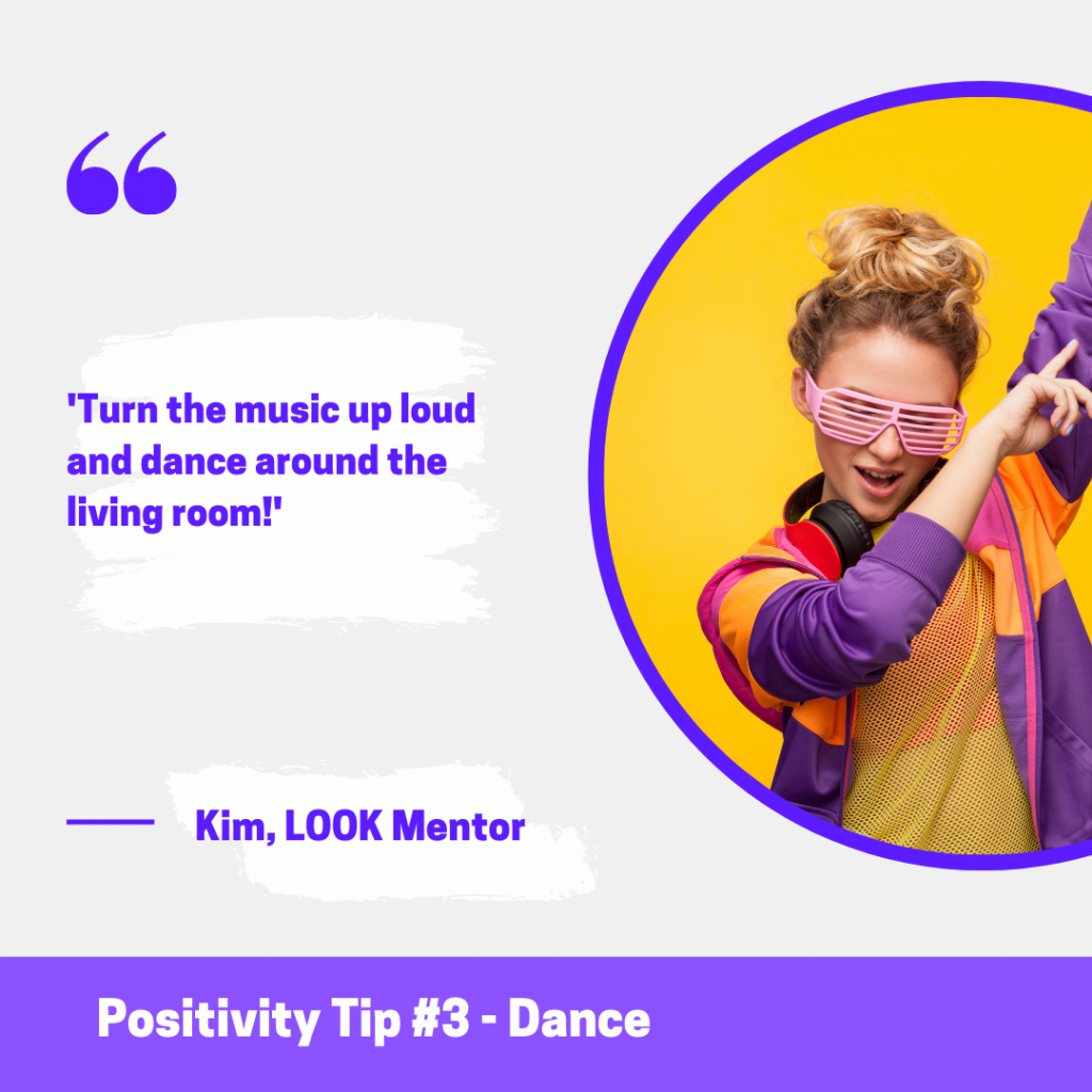 Photo of a girl wearing pink glasses and headphones around her neck, with arms in the air. Text reads: 'Turn the music up and dance around the living room!'