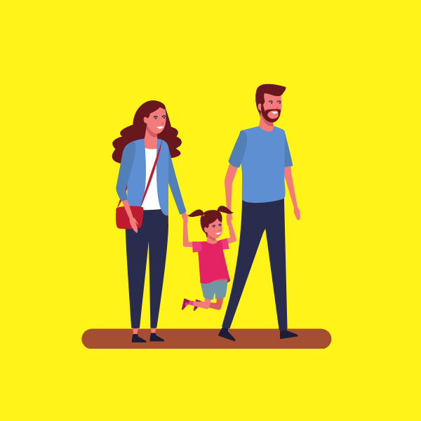 An illustration of a mum and dad holding a little girl's hands and swinging her between them. Set on yellow background.