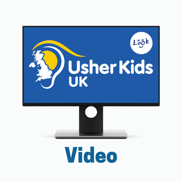 TV monitor shows Usher Kids UK and LOOK logos. Text: Video