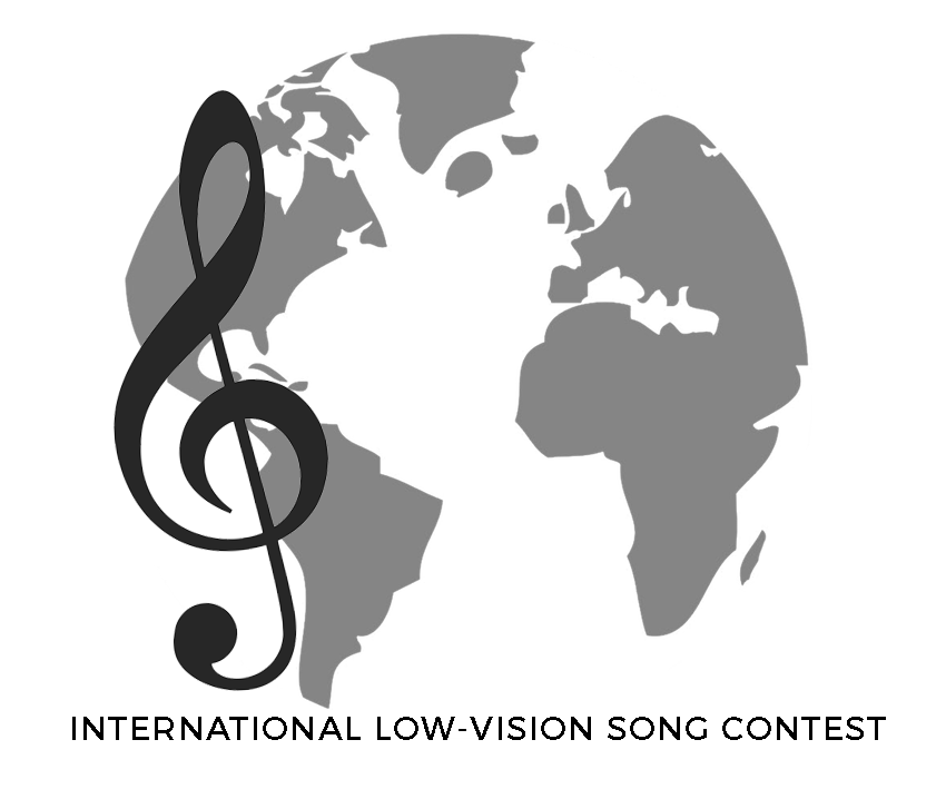Image shows a black and white picture of the world, with a black clef on the left-hand-side. Text reads: International Low Vision Song Contest.