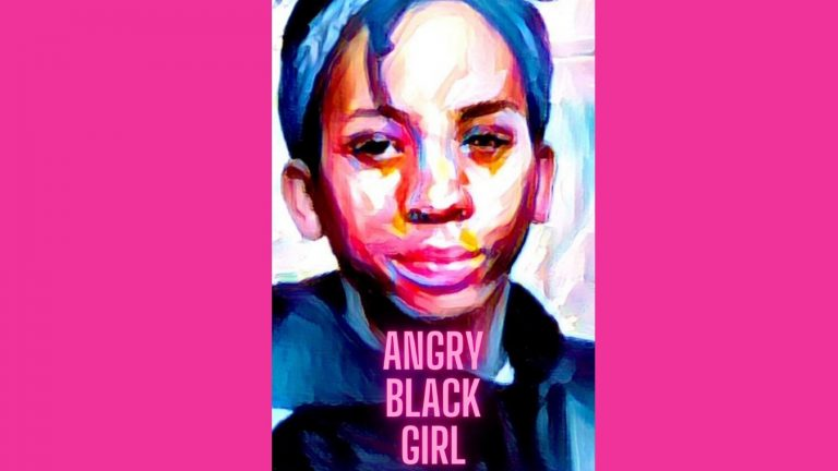 Image of Izuchi created using an oil painting effect, set on a bright pink background with the words in pink text: Angry Black Girl.