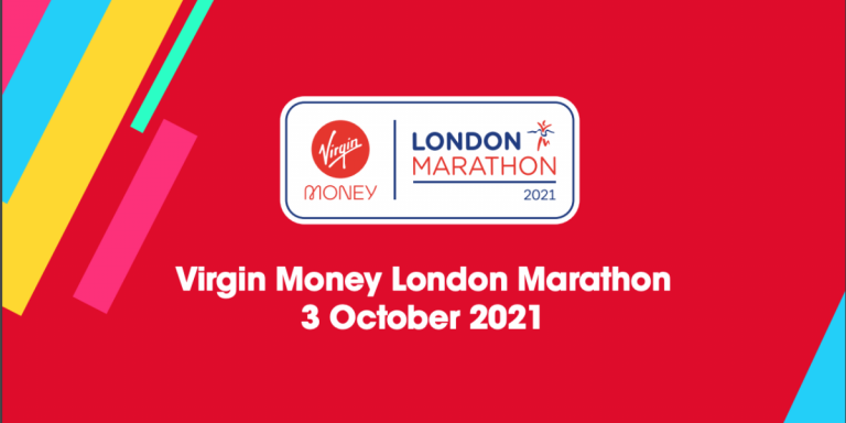 Graphic advertising the Virgin London Marathon. The VLM logo sits in the centre of the image with a red background and yellow, blue, pink and green coloured stripes in the left top corner. White text along the bottom reads: Virgin Money London Marathon 3 October 2021