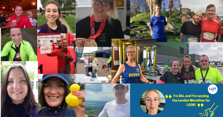 A photo collage of 14 of the 25 LOOK London marathon runners.