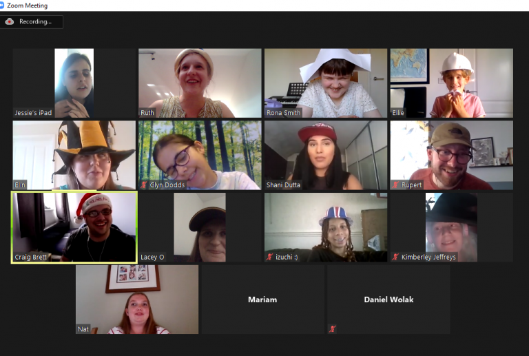 A screenshot of an online LOOK forum in action! The image shows 15 thumbnail images of LOOK mentors and forum participants; most of whom are all wearing bonkers hats ranging from a Jesters hat (Elin) to Union Jack patterned bowler hat!