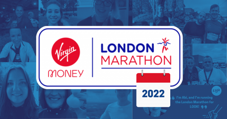 Blue background image shows a collage of thumbnail photos of the LOOK 2021 marathon runners. In the centre of teh collage is the red, white and blue London Marathon logo with the date 2022 inserted on top.